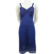Royal Blue Nylon Full Slip Vintage 1960s Lace Seamprufe Medium
