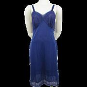 Royal Blue Nylon Full Slip Vintage 1960s Lace Seamprufe Medium