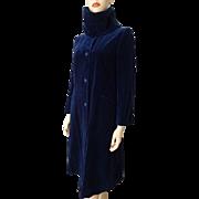Neiman Marcus Coat Jacket Vintage 1980s Does 1940s Indigo Velvet Corduroy Attached Scarves