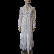 Lace Floral Maxi Dress Vintage 1970s White Cotton Garden Party Summer Boho Bohemian Wedding