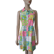 Lilly Pulitzer Shirt Dress Vintage 1980s Sleeveless Patchwork Novelty Print