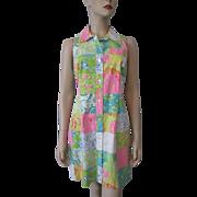 Lilly Pulitzer Shirt Dress Vintage 1980s Sleeveless Patchwork Novelty Print