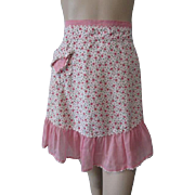 Apron Vintage 1950s Pink Floral Roses Ruffles Rick Rack Cocktail Hostess
