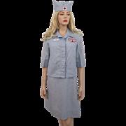 Vintage 1950s Red Cross Volunteer Uniform Dress Jacket Hat Nametag Patch Pin