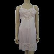 Pink Full Slip Lace Vintage 1960s Movie Star Nylon 38