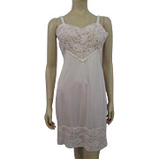 Pink Full Slip Lace Vintage 1960s Movie Star Nylon 38