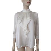 Ivory Satin Blouse Ascot Vintage 1960s Pearl Womens Shirt Top