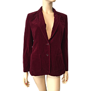 Vintage 1970s Crimson Red Velvet Jacket Blazer