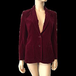 Vintage 1970s Crimson Red Velvet Jacket Blazer