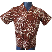 Mens Hawaiian Shirt Vintage 1960s Duke Of Hollywood Brown Cotton Print