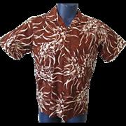 Mens Hawaiian Shirt Vintage 1960s Duke Of Hollywood Brown Cotton Print