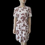 Floral Print Shift Dress Vintage 1970s Belt Brown White Larger Size