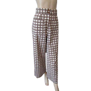 Seersucker Capri Cropped Pants Vintage 1950s Brown White Gingham Gaucho Culotte Cotton