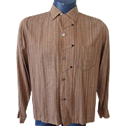 Mens Rockabilly Shirt Vintage 1950s Rugby Brown Arrows Long Sleeve Medium
