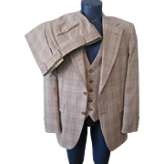 Mens Johnny Carson Plaid Suit Vintage 1970s Tan Jacket Vest Pants 3 Piece