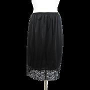 Vanity Fair Black Half Slip Vintage 1970s Nylon Lace Medium