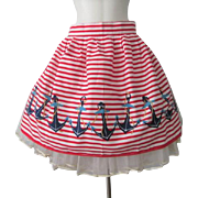 Kitchen Apron Novelty Nautical Vintage 1950s Sailor Striped Anchors