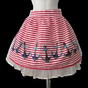 Kitchen Apron Novelty Nautical Vintage 1950s Sailor Striped Anchors
