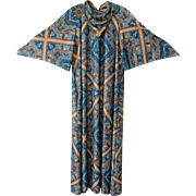 Bohemian Caftan Kaftan Vintage 1970s Gilead Blue Print Tassel Geometric Paisley