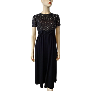 Black Cocktail Evening Dress Vintage 1970s Hand Beaded Rhinestone Bodice