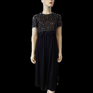 Black Cocktail Evening Dress Vintage 1970s Hand Beaded Rhinestone Bodice