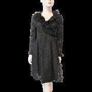 Chester Weinberg Coat Dress Vintage 1960s Black Lace Evening Wear Soutache Passementerie