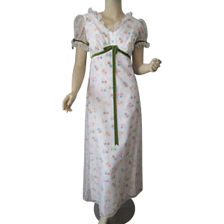 Floral Print Maxi Dress Vintage 1970s Nylon Sheer Velvet Bow Ruffles Garden Party Bridesmaid