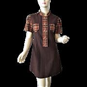Mini Mod Plaid Wool Dress Vintage 1970s Brown Lucite Buttons Allyn St. George Designer