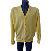 Mens Yellow Cardigan Sweater Vintage 1970s Lord Jeff Larger Size
