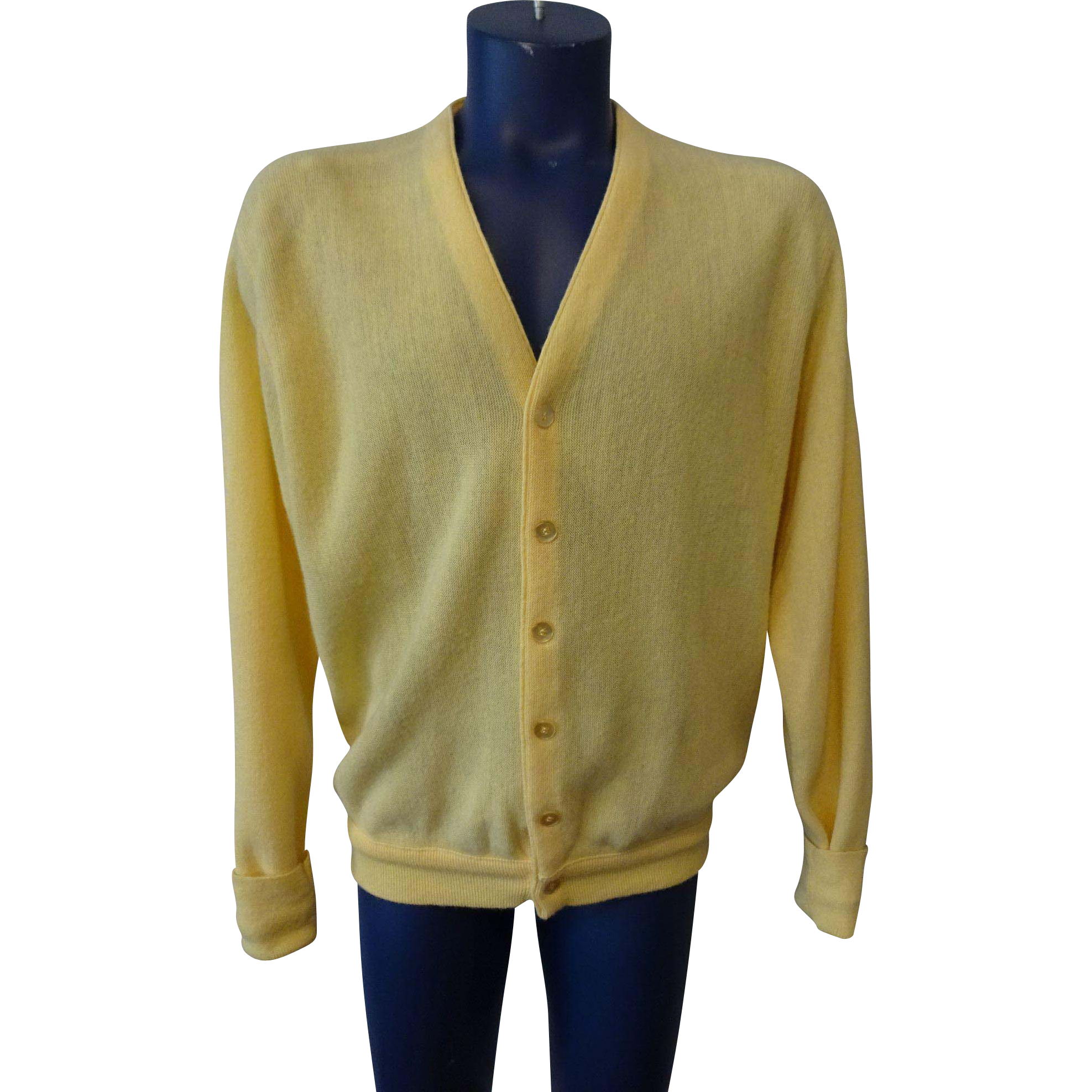 Mens Yellow Cardigan Sweater Vintage 1970s Lord Jeff Larger Size ...