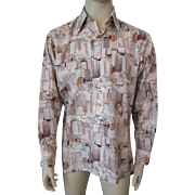 Mens Disco Era Shirt Vintage 1970s Cityscape Graphic Print Pointed Collar