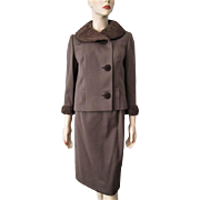 Womens Suit Skirt Jacket Vintage 1950s Brown Wool Cashmere Curly Lamb Lambswool Fur Collar Wiggle Pencil