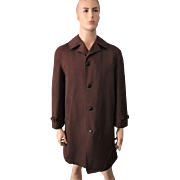 Mens Brown Houndstooth Coat Overcoat Vintage 1970s Zip Out Lining Woolf Brothers