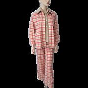 Womens Fall Plaid Suit Vintage 1970s Pants Jacket Tan Shirt Glen of Michigan