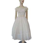 Vintage 1950s Ivory Swing Dress Lace Wedding Special Occasion Party Prom