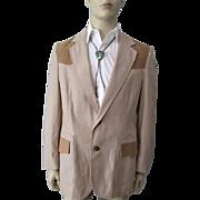Mens Western Jacket Sportcoat Blazer Vintage 1970s Pen Westerner Beige Tan 42 Long Pendleton