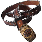 Western Tooled Leather Belt Vintage 1970s Brazos Joe Acorn Leaf Agate Buckle