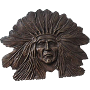 Brass Indian Chief Belt Buckle Vintage 1970s Native American Bergamot Sandy Val Designer XL
