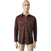 Mens Vintage 1970s Shirt Brown Polyester Pointed Collar Retro Button Front Long Sleeve