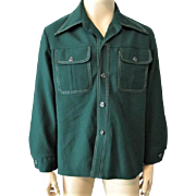 Mens Shirt Vintage 1970s Green Polyester Groovy Retro Pointed Collar Tunic Jacket