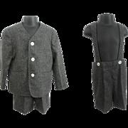 Boys Saks Fifth Avenue Suit Vintage 1950s Grey Gray Wool Jacket Pants Suspenders