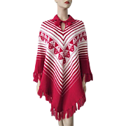 Bohemian Sweater Poncho Vintage 1970s Red White Ecuador Acrylis Tassels