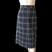 Vintage 1970s Wool Plaid Midi Skirt