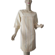 Wool Shift Dress Vintage 1970s Ivory Winter White Crocheted Lace Trim