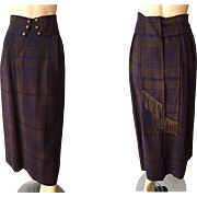 Antique Wool Plaid Long Barrel Skirt 1910s Sash Belt Fringe Early Construction