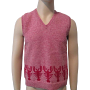 Mens Knit Sweater Vest Vintage 1970s Wool Lobster Deer Isle Maine
