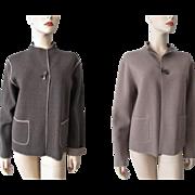 Womens Reversible Knit Jacket Vintage 1980s Wool Nylon Grey Brown Julian Jones