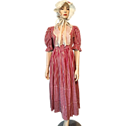 Colonial Bicentennial Milk Maid Costume Vintage 1970s Striped Dress Bonnet Demure Cotton Reenactment