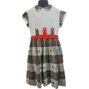 Fall Colors Girls Dress Vintage 1950s Handcraft Frock Cotton Plaid