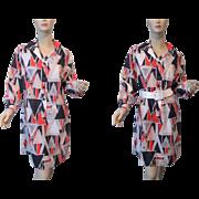 Graphic Print Shirt Dress Vintage 1970s Navy Orange White Geometric Larger Size
